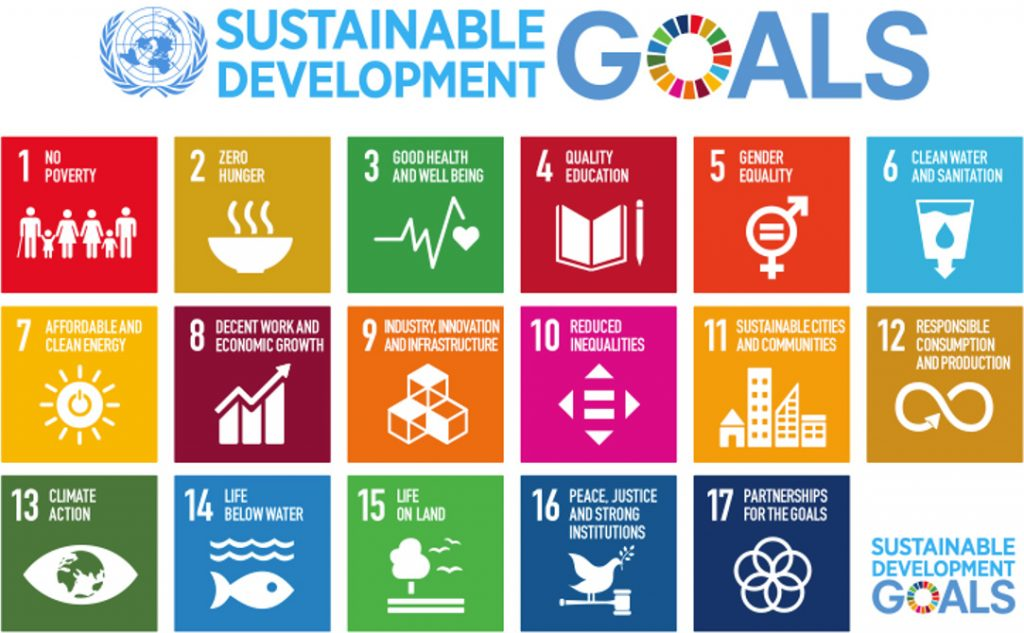 Diagram listing the 17 Sustainable Development Goals